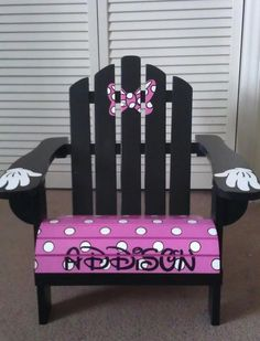 Childrenu0027s Handpainted Made To Order Adirondack By IHeartUKids OMG! Sooo  Many Cute Chairs   Minnie Mouse!
