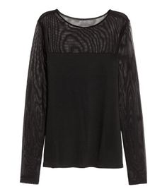 H&M Long-Sleeved Top $18 :: Long-sleeved jersey top with a yoke and sleeves in airy, sheer fabric.