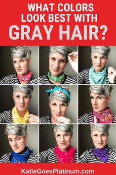 When you transition to gray hair, sometimes your favorite colors no longer suit your complexion! Read this post for suggestions on how to find your new best colors, and see examples of gorgeous gray-haired women wearing a variety of colors, even some that Grey Hair And Makeup, Grey Hair Care, Grey Curly Hair, Curly Hair Styles, Blue Grey Hair, Lilac Hair, Emo Hair, Pastel Hair, Green Hair