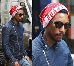 shot 2 Pharrell Williams; wearing a BBC Wolfman Jacket.
