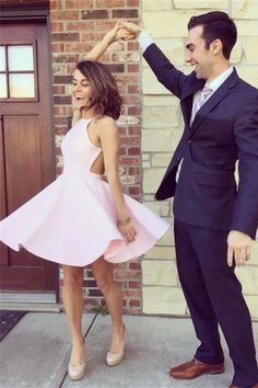 Simple Pink Short Classy High Quality Homecoming Dresses K263