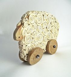 Ceramic Sheep on Wheels for Your Home  Home Decor  by lofficina, €20.00