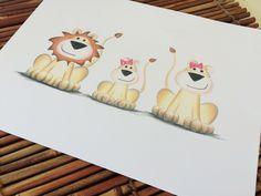 Lion nursery wall art print, lion family, jungle safari animal nursery decor, king of the jungle, baby girl jungle decor, lion nursery decor - pinned by pin4etsy.com