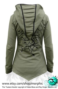 Womens Hoodie 'Tuatara' Khaki Green/Black Tree of by Morphic, $179.00