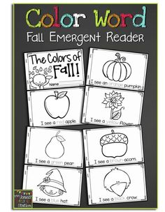 The Colors of Fall FREE Emergent Reader - - Fall is my favorite season of the year. I love all the colors that come as the weather turns cooler, and decided to create a fall emergent reader to bring the colors of fall into the classroom. Preschool Colors, Kindergarten Literacy, Preschool Learning, Kindergarten Classroom, Classroom Activities, Classroom Ideas, Preschool Songs, Kindergarten Writing, Interactive Activities