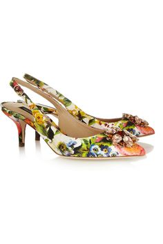 Heel measures approximately 70mm/ 3 inches Multicolored floral-brocade Buckle-fastening slingback strap Small to size. See Size & Fit tab.