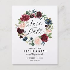 Burgundy and Blue Floral Wreath Save the Date Announcement Postcard