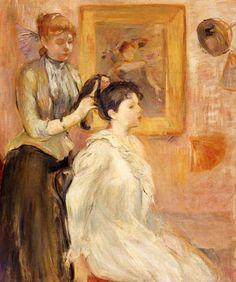 Berthe Morisot : La coiffure, 1894 - huile sur toile 55 x 46 cm - Museo Nacional de Bellas Artes - Buenos Aires