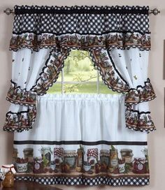 Mason Jars Kitchen Curtain Set Includes 1 (one) ruffled topper with attached valance One Pair (2 piece set) of curtain tiers One Pair (2 piece set) of curtain tiebacks Measures Approximalty 57 x 36 In