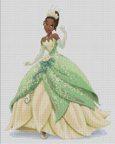 Counted Cross Stitch Pattern, Disney's Tiana in glittery gown, Instant Download, PDF Pattern