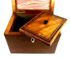 Antique Edwardian Sheraton Style Satinwood Single Tea Caddy In Excellent Condition C1910   268406   Sellingantiques.co.uk