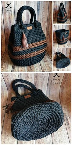 Crotchet Bags, Knitted Bags, Crochet Handbags, Crochet Purses, Crochet Bag Tutorials, Crochet Projects, Tricot Simple, Crochet Stitches, Crochet Patterns