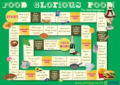 Food, Glorious Food! The food board game for ESL... could be fun for teacher lesson's. Conversation started and more interesting than worksheets