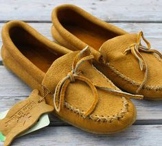 Moose hide moccasins with a crepe sole! #leather #Canada #handmade #rockwood #ontario #like #daily #fashion #hidesinhand