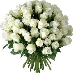 Bouquet de roses Blanc Pur Aquarelle.com