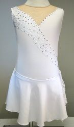 Sk8 Gr8 Designs custom baton twirling costumes, white lace detail with Swarovski rhinestones. www.sk8gr8designs.com
