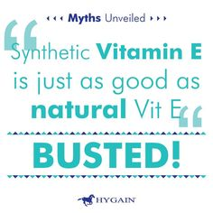 Synthetic Vitamin E is just as good as Natural - Busted Natural Vitamin is reported to be up to 3 times more bioavailable to the horse that synthetic vitamin E. Natural Vitamin E also has a longer retention time in the body.