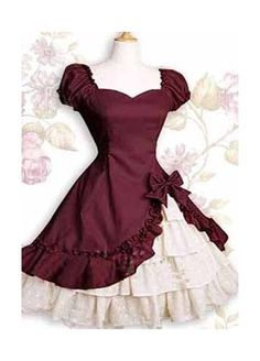 Burgundy Short Sleeves Ruffle Bow Cotton Classic Lolita Dress Lolita Clothes