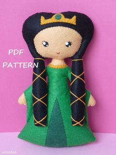 PDF sewing pattern to make a felt doll inspired Mérida and her mother Elinor (Brave) 6.5 inches tall. It is not a finished doll. For handsew. Includes tutorial with pictures and step by step explanation. Instructions in Spanish-English. Difficulty: medium Things to do with this pattern can be sold in your own shop. Mass production, re-sale and distribution of pattern pieces and instructions is Expressly prohibited. Dolls made from this pattern are not suitable for children under 3. Instant…