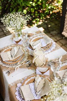 Boho wedding table idea with lace - this is what you will have . Herb Wedding, Boho Wedding, Wedding Table, Summer Wedding, Wedding Day, Wooden Feather, Birthday Decorations, Table Decorations, Church Wedding