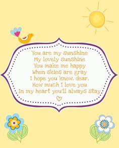 Simply Montessori: Freebie: Printable You Are My Sunshine Poster {an alternate version}