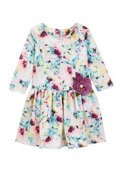 Long Sleeve Watercolor Floral Dress (Toddler & Little Girls)
