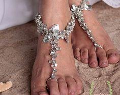 Beach Wedding Barefoot Sandal,Bridal Swarovski Crystal Barefoot Sandals,Boho Slave Anklet,Wedding Anklet,Bridesmaid Accessories