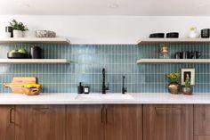 Blue Green Kitchen, Blue Kitchen Tiles, Modern Kitchen Tiles, Patterned Kitchen Tiles, Blue Backsplash, Mid Century Modern Kitchen, Kitchen Redo, Kitchen Colors, Kitchen Design