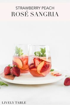 This fruity rosé sangria made with strawberries, peaches and raspberry puree is an easy and delicious summer party drink to serve at backyard BBQs and to sip by the pool! #summerdrinks #drinkme #rose #sangria #strawberries #peaches #easy #raspberry #BBQdrinks Frozen Drink Recipes, Iced Tea Recipes, Frozen Cocktails, Sangria Recipes, Drinks Alcohol Recipes, Beer Recipes, Punch Recipes, Cocktail Recipes, Whole Food Recipes