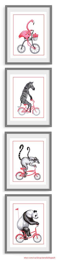 Set of 4 prints, animals on bicycle: flamingo, zebra, lemurs and panda on pink bicycle by Amelie Legault on Etsy, start at $24.00 Click here for more info: https://www.etsy.com/ca/shop/AmelieLegault  Ensemble de 4 affiches d'animaux en vélo: flamant rose, zèbre, lémurs et panda sur vélo rose, par Amélie Legault sur Etsy, commence à $24.00 cad #flamingo #panda #lemur #zebra #flamant #amelielegault #etsy #etsyquebec #etsymontreal #prints #pink #bicycle #rose #velo #bicyclette #dessin #affiche