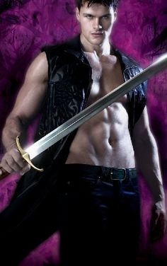 Love this cover for @ShannonKButcher's BLOOD HUNT - hot guy, sword, purple: yes!