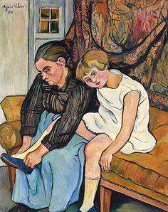 Suzanne VALADON (1865-1938). Grand-mère chaussant une fillette, 1931