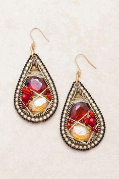 Ruby Fale Crystal Teardrop Earrings on Emma Stine Limited