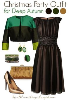 Elegant christmas party outfit idea for deep autumn