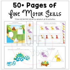 Dinosaur Activities for Preschool (Distance Learning) by Fluffy Tots Dinosaurs Preschool, Dinosaur Activities, Baby Dinosaurs, Motor Activities, Dinosaur Printables, Free Printables, Shape Matching, Weird Pictures, 5 Year Olds
