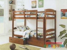 Bravo Bunk Bed available in White or Antique Oak (as pictured)