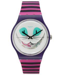 Swatch Unisex Swiss Es War Einmal Pink and Purple Stripe Silicone Strap Watch 41mm SUOW125