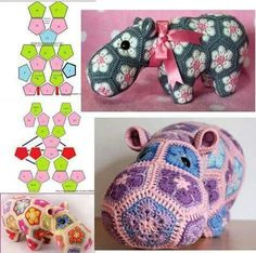Crochet Toys Patterns African Flowers 48 New Ideas Crochet Hippo, Crochet Patterns Amigurumi, Crochet Dolls, Crochet Motifs, Crochet Stitches Patterns, Knitting Patterns, African Flower Crochet Animals, Crochet Flowers, Yarn Projects