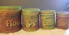 Lot 4 1970's Vintage Advertising Tins FLUFFY FLOUR SUNSHINE COFFEE SUGAR TEA