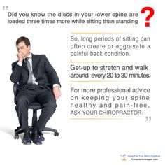 """Did you know the discs in your lower spine are loaded 3x more while sitting than standing? So, long periods of sitting can often create or aggravate a painful back condition."" -- For more professional #chiropractic graphics, visit http://chiropracticimages.com"