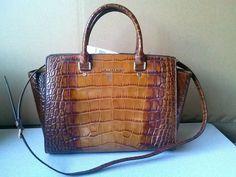 $398 Michael Kors Selma Luggage Croc Genuine Leather Large Satchel Bag #MichaelKors #Satchel