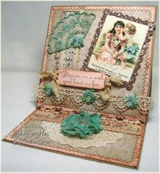 Welcome back to my weekly Saturday morning post for Our Creative Corner. This week our hostess, Vicki Burdick, is challenging us to make e. Easel Cards, Really Love You, Distress Ink, Handmade Flowers, Vintage Images, Your Cards, Decorative Boxes, Card Making, Greeting Cards