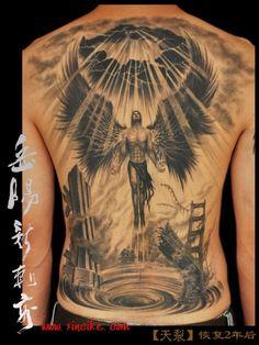 Meaningful Angel Back Tattoo Designs For Guys - Best Back Tattoos For Men: Cool Back Tattoo Designs For Guys - Men's Upper, Lower, Full Back Tattoo Ideas Great Tattoos, Beautiful Tattoos, Body Art Tattoos, Arabic Tattoos, Tattoos Skull, Awesome Tattoos, Angel Back Tattoo, Angel Tattoo Men, Angel Warrior Tattoo