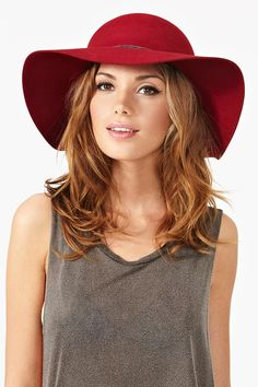 Nasty Gal - Carmen Floppy Hat; dark red floppy hat brown rope