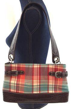 488918f09175 Tommy Hilfiger Plaid Handbag Shoulder Bag Purse - Croc Faux Leather Trim