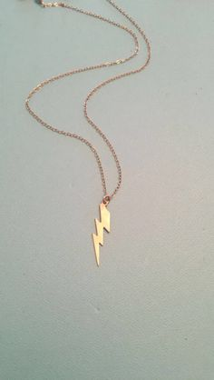 Gold Lightening bolt Necklace Large