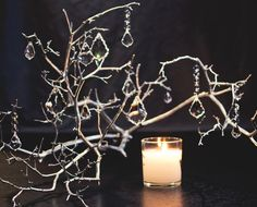 Chandelier Branch with Candle - DIY Wedding Centerpiece