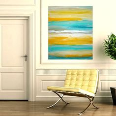 Yellow Turquoise Original Abstract Painting Modern by orabirenbaum,