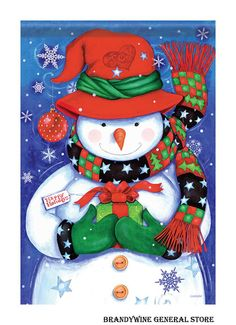 Snowman & Gift Holiday House Flag Presents Happy Winter Yard Banner x Christmas Signs Wood, Christmas Snowman, Christmas Wreaths, Christmas Crafts, Christmas Decorations, Christmas Ornaments, Christmas Clothes, Green Christmas, Christmas Countdown Calendar