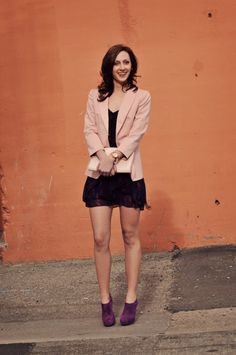 light pink blazer with hot neon purple shoes.